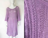 The Purple Rain Vintage Dress Sweater Hand Knit Off Shoulder Crochet Open Weave Leaf Pattern Pale Purple Beach Cover Up