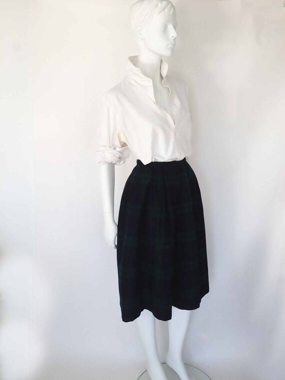 Skirt S: Women\u2019s Bottoms Shorts XS The PERRY ELLIS Vintage 80s Culottes Skirt Blackwatch Wool Plaid Wide Leg Skort