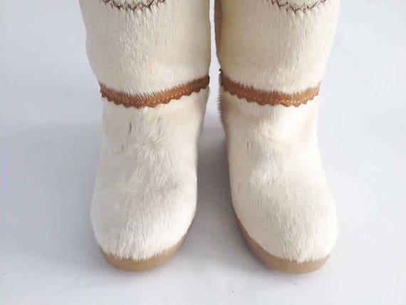 Die TECNICA Skandia St. Moritz Vintage 70er Jahre Pelz Stiefel Elfenbein Ziege Pelz Muk Luk Chukka Apres Ski Mittlere Länge SZ 37 6 6,5: Damen