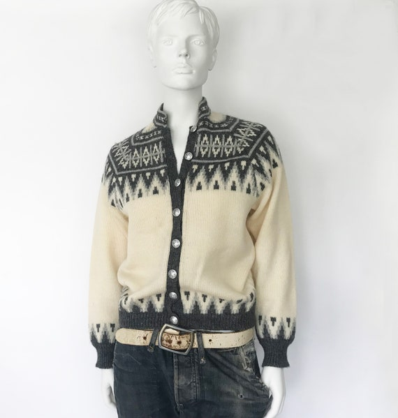 Die Wikinger Avantgarde Vintage 70er Jahre nordischen Fair Isle Strickjacke Pullover Damen Handnaht handgefertigte wolle Grobstrick kuscheliger Jumper