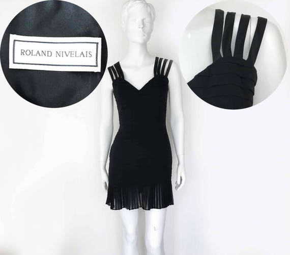The Evening @ The Met Vintage 90s Cocktail Dress LBD Black Micro Mini Dress Backless Big Fuschia Bow Evening Wear Fancy Dress Rhinestones