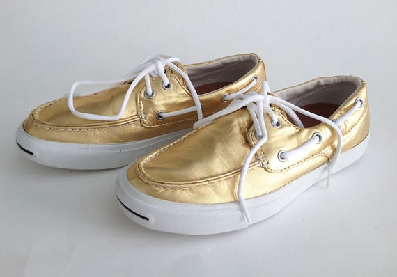 The JACK PURCELL CONVERSE Vintage 90s Tennis Shoes Golden Ticket Rare Metallic Gold Leather Rare Boat Shoes Chucks, Sneakers 8 uk 5.5 39