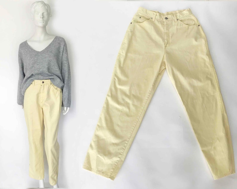 0ddbd65669 The Mad About You Vintage 80s Hi Waisted Pale Yellow Jeans