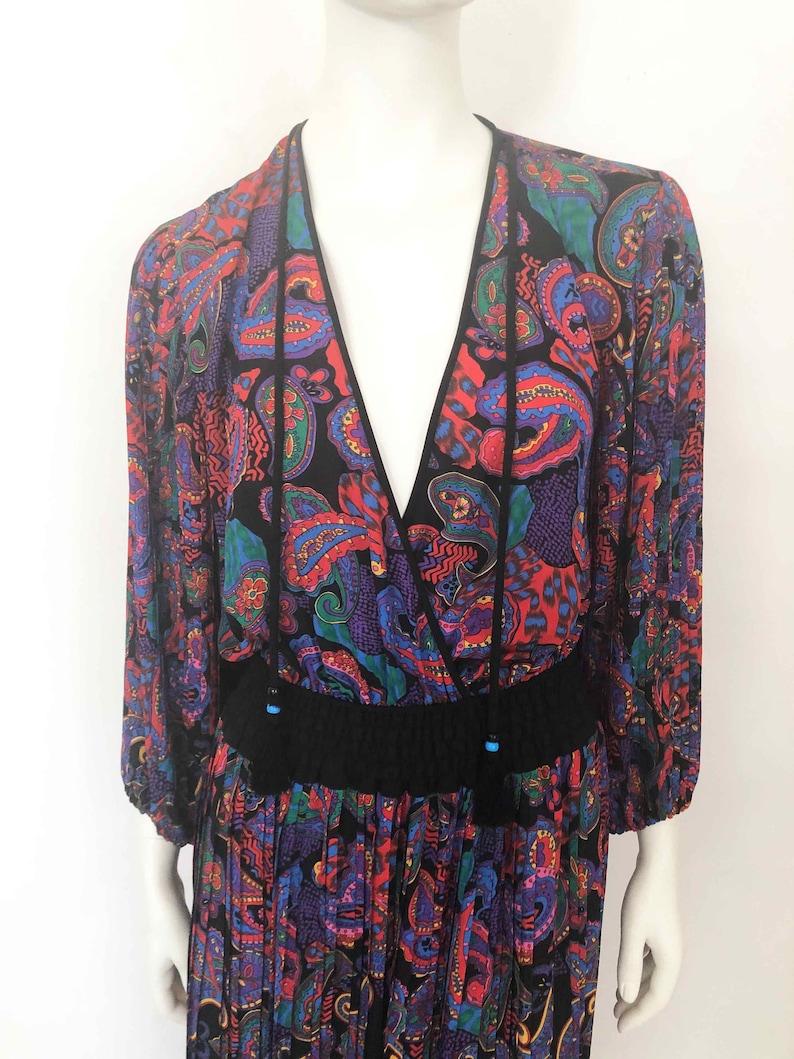 The Divine DIANE FREIS Vintage 80s Dress Deep Decollotage Blouson Purple Rain Printed Pink Black Floral Multi Pattern Wrap Dress Silky