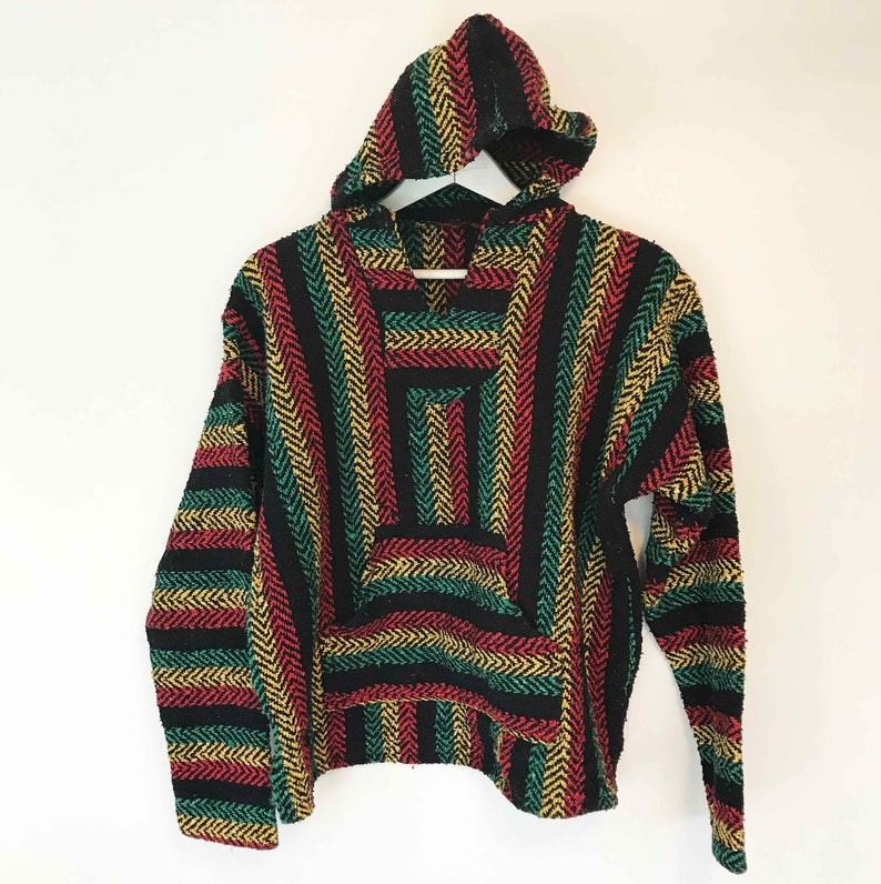 The No Woman Jacket No Cry Vintage 80s Baja Hoody Top Spicoli Beach Bum Rainbow Rasta Striped Boho Cotton Textured Weave S Shirt