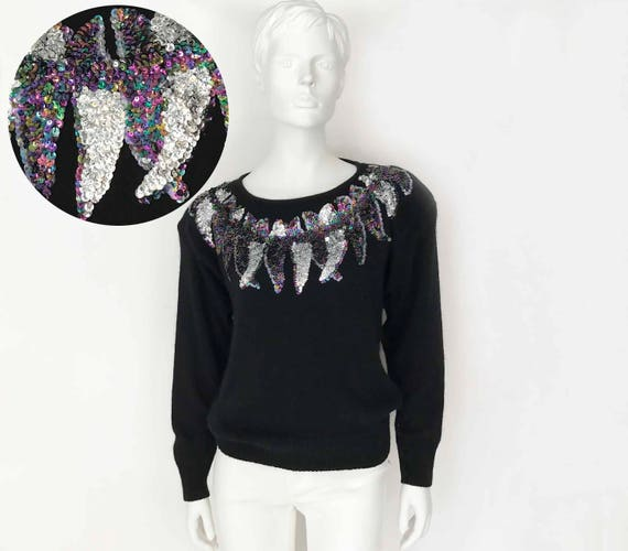 The Liquid Electric Feathers Vintage 80s Sequin Sw