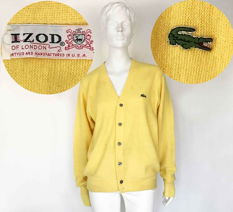 e2381d9a166e The IZOD LACOSTE You on You Tube Yellow Vintage 80s Sweater