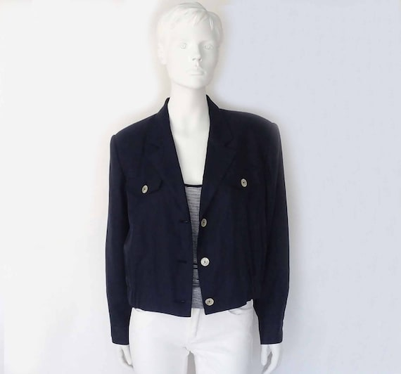 The Cove Nautical Navy Vintage 80s Blazer Linen Cr