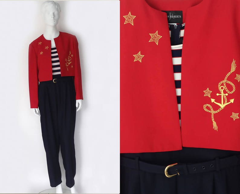 The Love Boat Vintage 80s 2 pc Jumpsuit x Bolero Jacket Novelty Nautical Gold Anchor Embroidered Navy White S OS Womens Jumper Pants Shirts