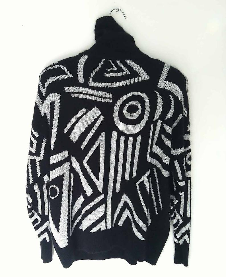 Vintage Women\u2019s Jumper The 80s Dance Party Vintage Turtleneck Sweater Graphic Geo Silk Lambswool Blend Jacquard LS Black Sweater OS