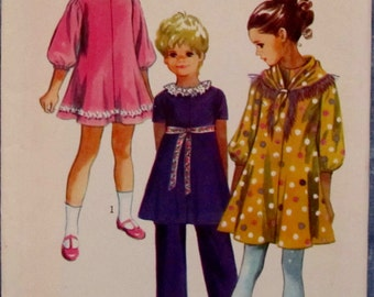 Vintage 1970s Child's Dress, Scarf And Pants Size 6 Sewing Pattern Simplicity 9188 Price Reduced 25%