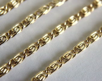 Gold Plated Scroll 18 Inch Chain 2.3 MM Wholesale 10 Pcs Necklace Lot