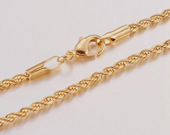 French Rope Gold Plated 2 MM Chain Necklace Wholesale Lot Bulk