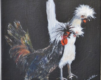 Acrylic Painting on stretched canvas 3 Chickens