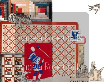 DIGITAL | quilted themed | red white blue| memorial 4th of July | American