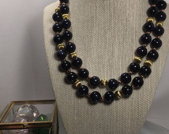 Classic Blue Sandstone and Yellow Gold Tone Double Necklace