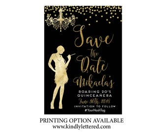 art deco save date etsy