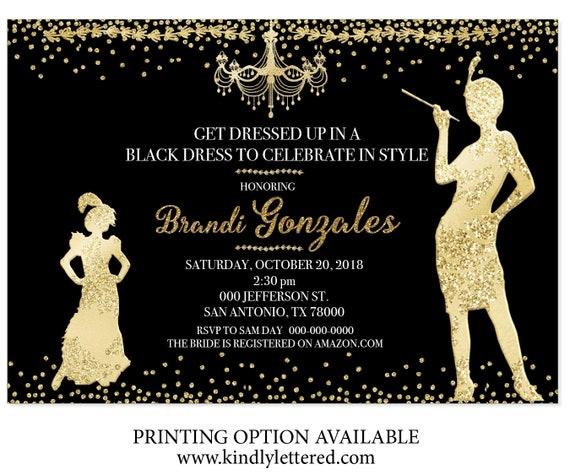 Goldenen 20er Einladung-Art-Deco-Einladung-Great Gatsby Bridal | Etsy