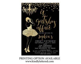 Roaring '20s Invitation-Art Deco Invitation-Great Gatsby Birthday Invitation-Flirty and Thirty; Forty; Fifty etc. Invitation- Roaring 20s