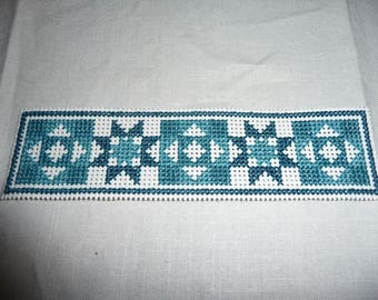 Three Cross Stitched Book Marks (blue, green, pink)