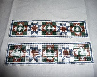 Cross Stitched Book Mark - blue, green, brown