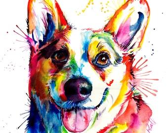 Colorful and splashy CORGI Art Print - Print of my Original Watercolor Painting