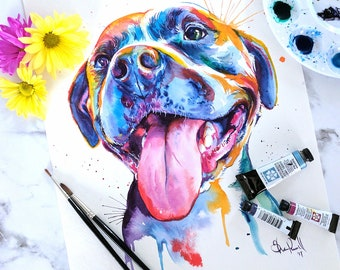 Colorful Pit Bull Watercolor Art - Rainbow Print of my Original Painting (FREE shipping)