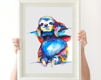 Colorful SLOTH Art - Print of original watercolor painting - bright rainbow decor (FREE Shipping)