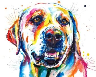 Colorful Yellow Lab Art Print - Print of my Original Watercolor Painting of labrador retriever (FREE Shipping)
