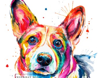 Colorful and splashy CORGI Art Print - Print of my Original Watercolor Painting (FREE Shipping)