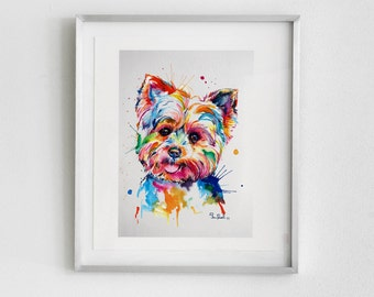 Colorful Yorkshire Terrier Art Print - Print of my Yorkie Original Watercolor Painting