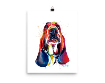 Colorful Basset Hound Art Print - Print of my Original Watercolor Painting (FREE Shipping)