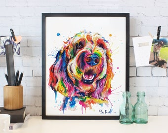 Colorful Goldendoodle or Labradoodle wall art- print of my original watercolor painting (FREE ship!)