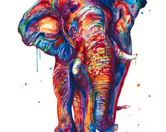 Elephant Watercolor Painting -Art print of original watercolor painting