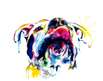 """Colorful Dog Painting - pitbull, boxer, mutt - """"Tongue Out"""" (FREE Shipping)"""