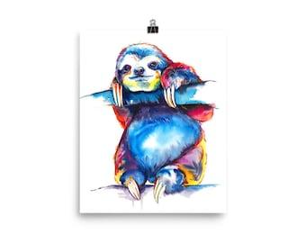 Colorful SLOTH Art - Print of original watercolor painting - bright rainbow decor (FREE Shipping)