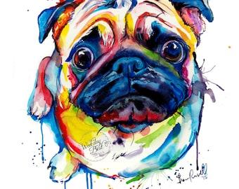 Colorful Pug Art Print - Print of my Original Watercolor Painting (FREE Shipping)