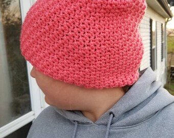 Textured winter slouch hat