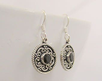 Sterling Silver Black Onyx  Dangle Drop Earrings