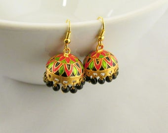 d0be68e5a Meenakari Hand Crafted Lightweight Jhumka Dangle Earrings