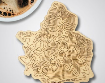 Clear Lake Volcanic Field Topographic Map Wooden Coaster • Pacific Northwest Mountains • Single Coaster
