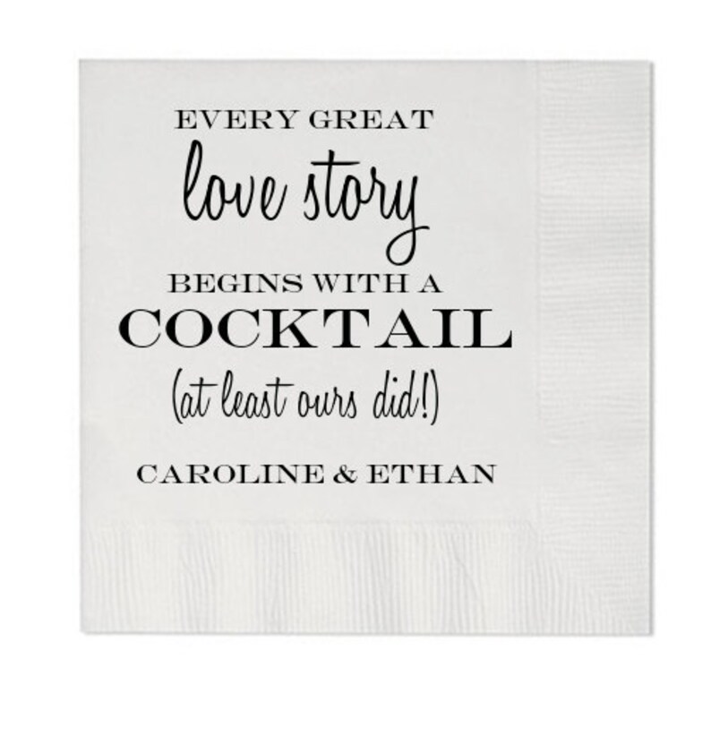 Every Great Love Story Begins With a Cocktail | Cocktail Napkins | Set of  100