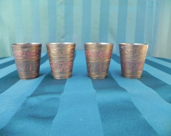 Vintage Asian, Persian, Indian, Brass Shot Glasses, Lassi Cups, or Small Tumblers, Etched and Colored, set of 4