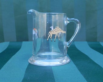 Vintage Glassware Circus Animal Pitcher with Elephant, Camel, and Giraffe