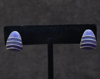 Vintage Jewelry Purple Enamel Pierced Earrings, one pair