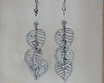 Silver Leaf Earrings, Silver Leaf Dangle Earrings, Silver Leaf Trio Earrings, Silver Triple Leaf Earrings
