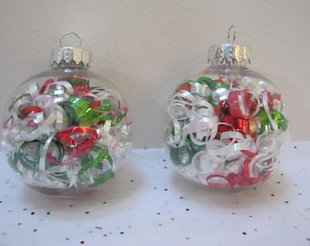 Christmas Ribbon Ornament Set Of Two  Small Red Green White Holiday Decor Tree Ornament Gift Idea