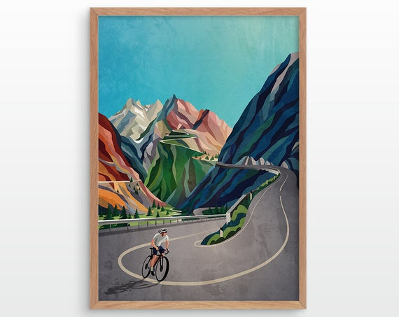 Cycling art print. The moment before the ascent.
