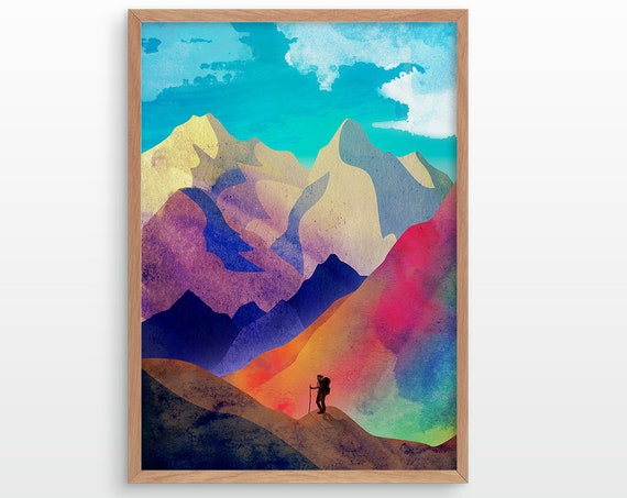 Woman hiker art print. Ideal print for decorating your home or office.