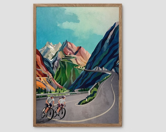 Cycling couple art print. Great gift for cyclist.